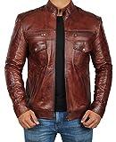 Decrum Mens Brown Leather Biker Jacket | L