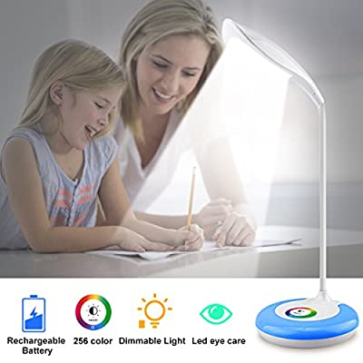 Kids Desk Lamps,Wireless Rechargeable Light Table Lamp,Color Changing Eye-Caring Led Light Desk,Flexible Gooseneck Led Desk Lamp,3 Brightness Levels Night Light For Office Girls Boys