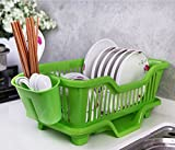 KANTHI 3 IN 1 Kitchen Sink Dish Drainer Drying Rack Washing Holder Basket Organizer Tray Front Side