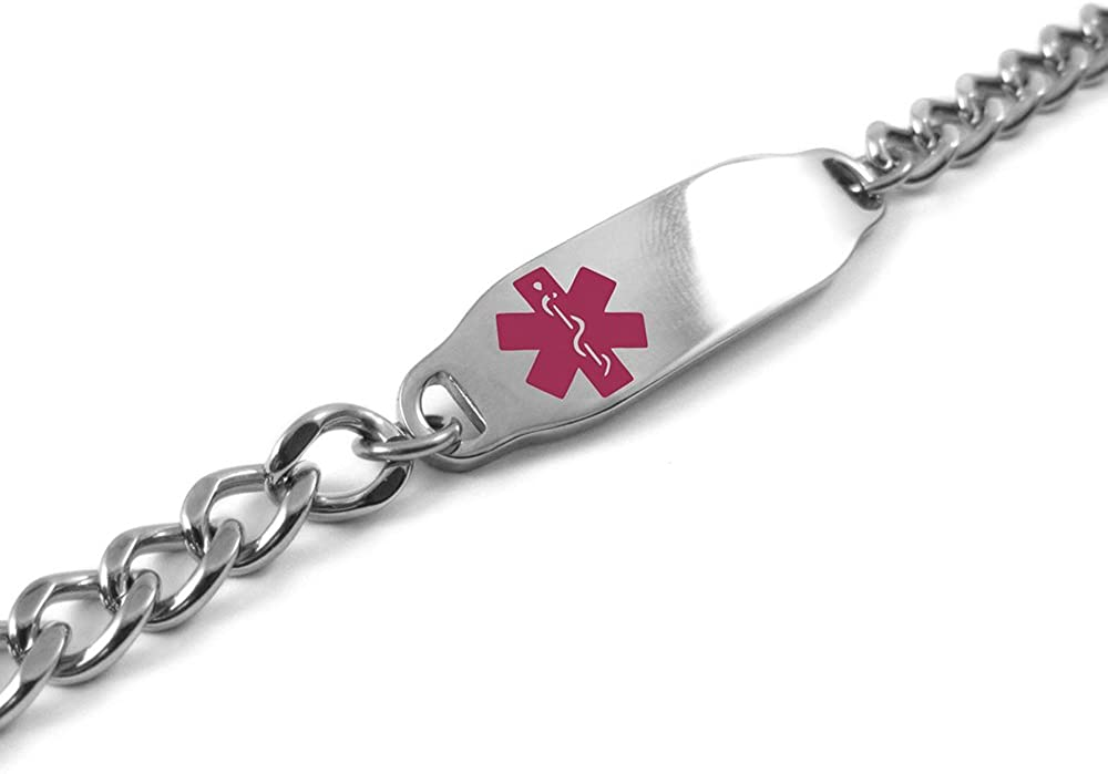 Steel Hearts Pink My Identity Doctor Pre-Engraved /& Customizable Diabetes Type II Toggle Medical Bracelet