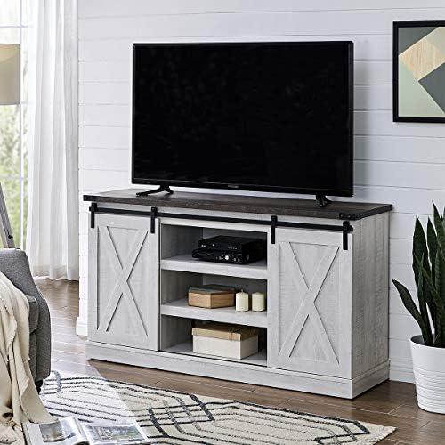 Amposei Farmhouse Wood Sliding Door TV Stand Console