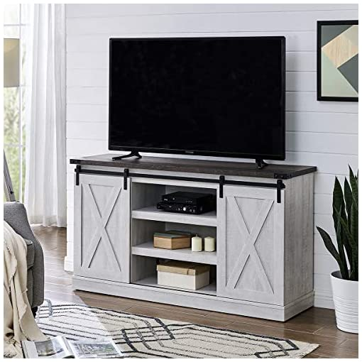 Farmhouse Living Room Furniture Amposei Farmhouse Wood Sliding Door TV Stand Console for TVs Up to 60″, Home Living Room Storage Shelves Cabinet Entertainment Center Media Table,Sargent Oak farmhouse tv stands
