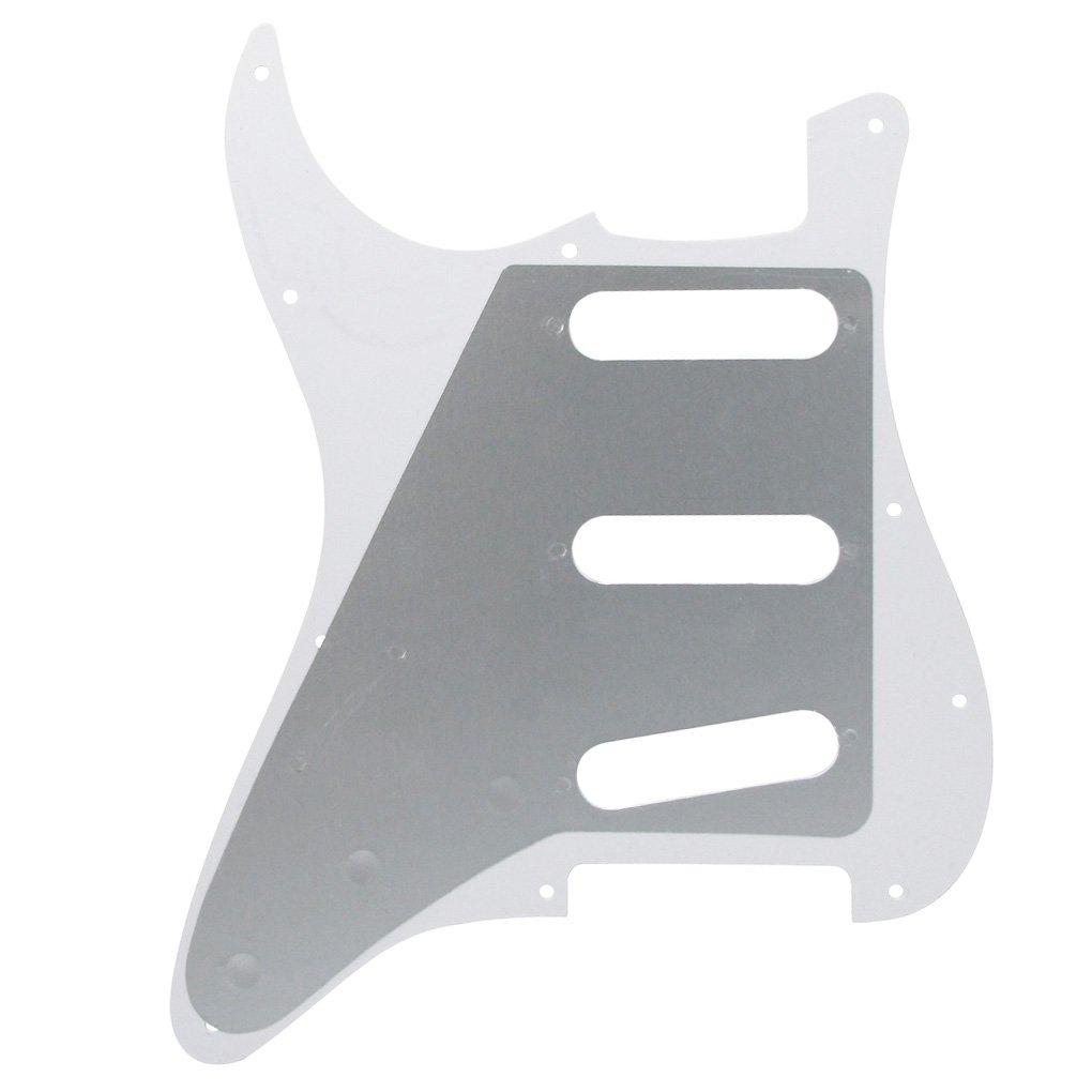 Fleor SSS Strat Pickguard avec couvertures Pickup//2t1/V Ensemble de pointes de bouton de commande pour Stratocaster Guitare de remplacement 1ply transparent