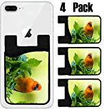 MSD Phone Card holder, sleeve/wallet for iPhone Samsung Android and all smartphones with removable microfiber screen cleaner Silicone card Caddy(4 Pack) IMAGE ID 36172429 Vivid birds of Seychelles Red