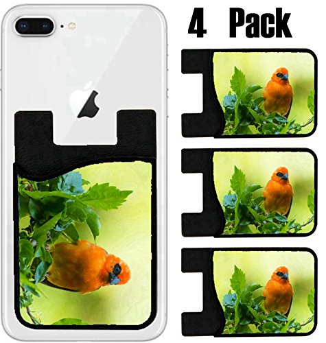 MSD Phone Card holder, sleeve/wallet for iPhone Samsung Android and all smartphones with removable microfiber screen cleaner Silicone card Caddy(4 Pack) IMAGE ID 36172429 Vivid birds of Seychelles Red by MSD