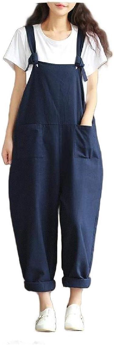 Unastar Women Pocket Boyfriend Lounge Suspenders Vintage Retro Bib Pants