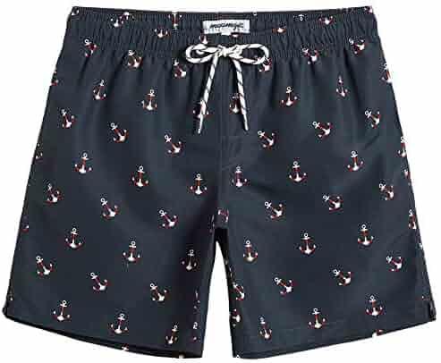 0b9318710d MaaMgic Mens Quick Dry Printed Short Swim Trunks with Mesh Lining Swimwear  Bathing Suits