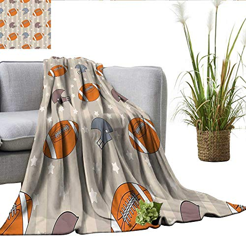 smllmoonDecor Football Blanket for Sofa Couch Bed Faded Stars and Stripes with Classical Sports Symbols USA Retro Tile Cozy Blanket Orange Mauve Slate Blue W60 xL70