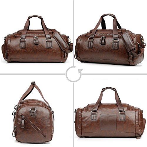 Men Gym Bag For Men Leather Travel Weekender Overnight Duffel Bag Sports (brown)
