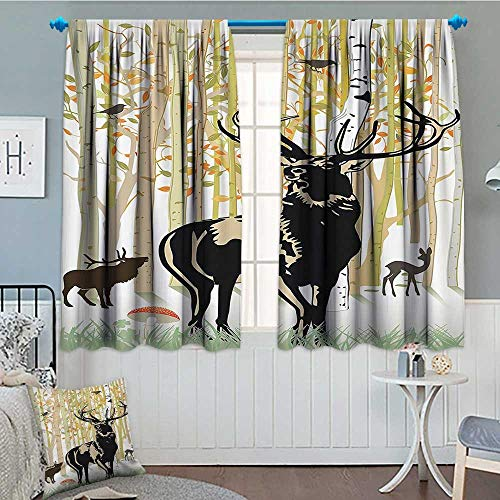 Strongger Antlers Decor Thermal Insulating Blackout Curtain Deers in Autumn Forest Colorful Leaves Trees Grass Wildlife Fall Landscape Art Print Patterned Drape for Glass Door 52