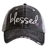 Look stylish with this Katydid Blessed Christian Inspired Women's Trucker Hat - Premium Embroidery, Distressed Style, Adjustable Velcro Tab, Curved Bill, Designed and Embroidered in the USA KATYDID QUALITY: Designed and embroidered in the USA, our Tr...