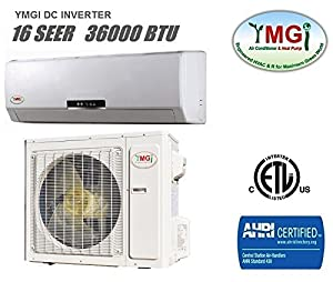 YMGI 36,000 BTU 16 SEER Ductless Mini Split DC Inverter Air Conditioner Heat Pump System - 208-230V 1HP 60 Hz with Free 25 Feet Installation Kit