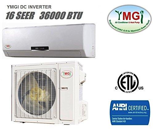 YMGI 36,000 BTU 16 SEER Ductless Mini Split DC Inverter Air Conditioner Heat Pump System - 208-230V...
