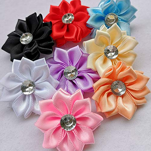 Chenkou Craft 40pcs Satin Ribbon Flower with Pearl Wedding DIY Appliques (Multi) -