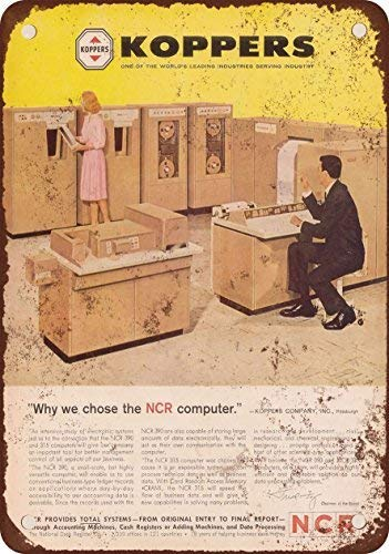 1962 NCR Mainframe Computers Vintage Look Reproduction Metal Tin Sign 8X12 Inches