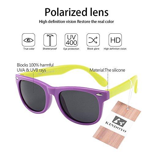 KINDOYO Unisexe Enfants Wayfarer Polarisées Lunettes de Soleil pour Garçons Filles Monture en caoutchouc flexible Sport Lunettes Violet/Jaune