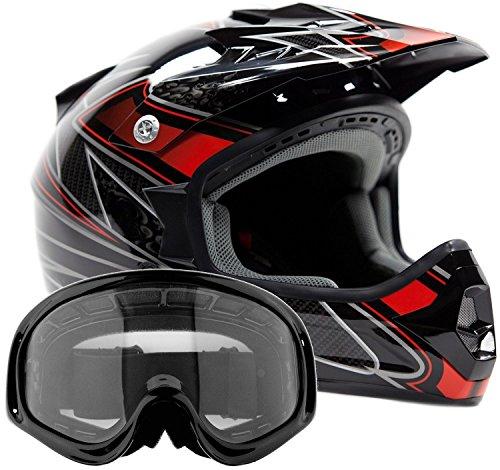 Adult Offroad Helmet & Goggles Gear Combo DOT Motocross ATV Dirt Bike MX Black Red ( Medium )