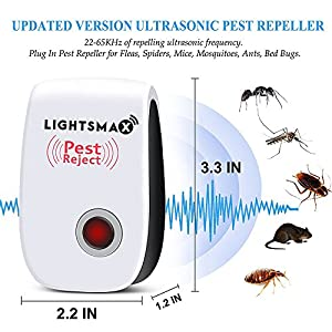 (2018 UPGRADED) LIGHTSMAX Pest Control Ultrasonic Repeller for Mosquitoes, Mice, Ants, Roaches, Spiders, Bugs, Flies, Insects, Rodents, Pest Control Ultrasonic Repeller Safe for Human & Pets (6)