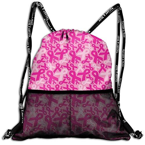 Men & Women Premium Polyester Drawstring Sack Breast Cancer Ribbons Gymsack Theft Proof Lightweight For Travel Soccer Baseball Bag Large For Camping, Yoga Runner ()