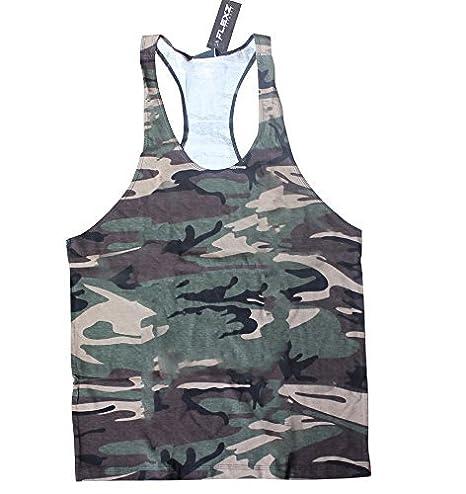 38e7a70eb8899 Amazon.com  Camo Muscle Tanktop Singlet Y-Back Stringer Mens Bodybuilding  Vest
