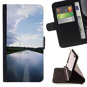 For Sony Xperia Z1 Compact / Z1 Mini (Not Z1) D5503 Case , Agua Carretera- la tarjeta de Crédito Slots PU Funda de cuero Monedero caso cubierta de piel
