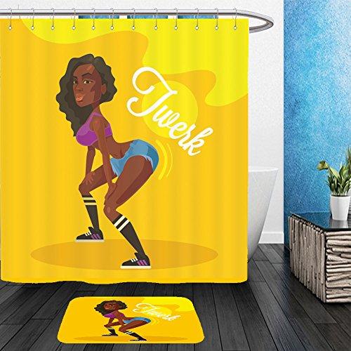 Vanfan Bathroom 2Suits 1 Shower Curtains & 1 Floor Mats twerk dance black woman vector flat illustration 403116013 From Bath room