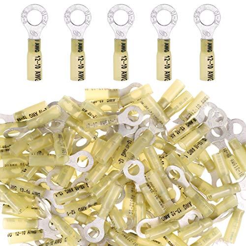 Glarks 50pcs 12-10 Gauge M8 Ring Nylon Heat Shrink Waterproof Quick Disconnect Electrical Insulated Crimp Terminals Connectors Assortment Kit