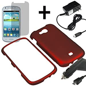 BW Hard Shell Shield Cover Snap On Case for U.S. Cellular Samsung Galaxy Axiom R830 + LCD + Car + Home Charger -Red