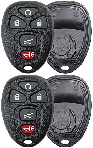 2 KeylessOption Replacement 5 Button Keyless Entry Remote Key Fob Shell Case and Button Pad -Black (2007 Starter Tahoe Remote)