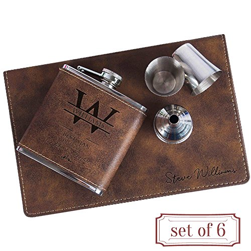 Customized Favor - Set of 6 - Personalized 6oz Leatherette Flask Groomsmen Gift Set Engraved Flask Groomsman Gifts Personalized Flask Groomsman Kit, Wedding Favor Customized Flask for Liquor | Rustic #3