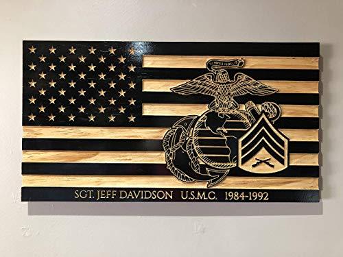 (Wooden Carved American Flag Marine Corps EGA Rank Insignia)