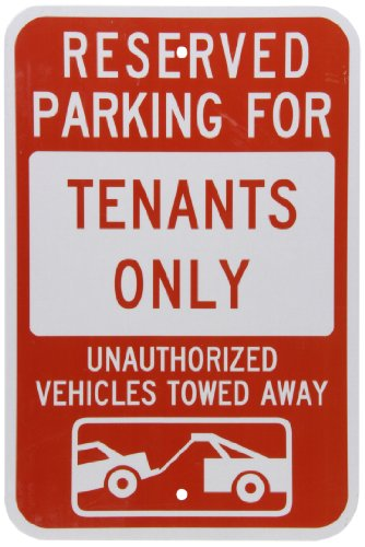 "SmartSign 3M Engineer Grade Reflective Sign, Legend ""Reserved Parking for Tenants - Vehicles Towed"" with Graphic, 18"" high x 12"" wide, Red on White"