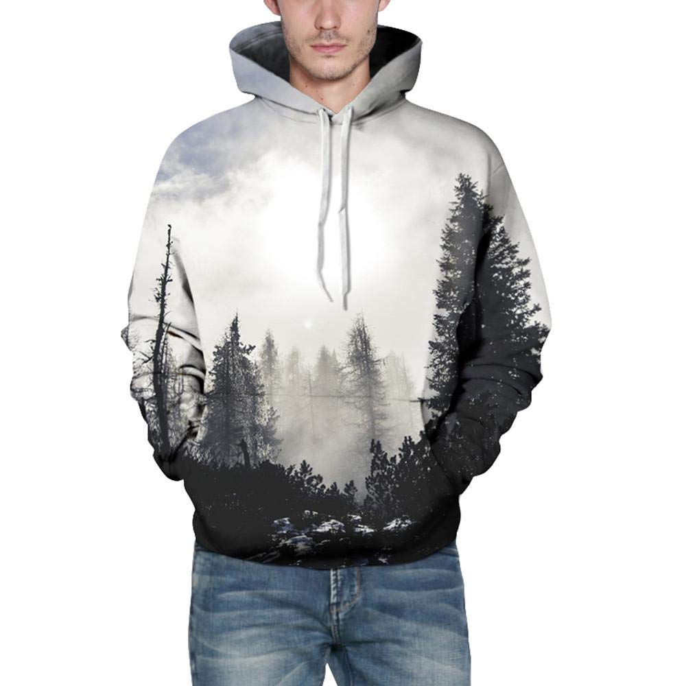 Realdo Mens Sweatshirt, Fashion Casual Autumn Winter 3D Print Comfy Caps Skin Hoodie Tops Blouse(XX-Large/3X-Large,Forest)