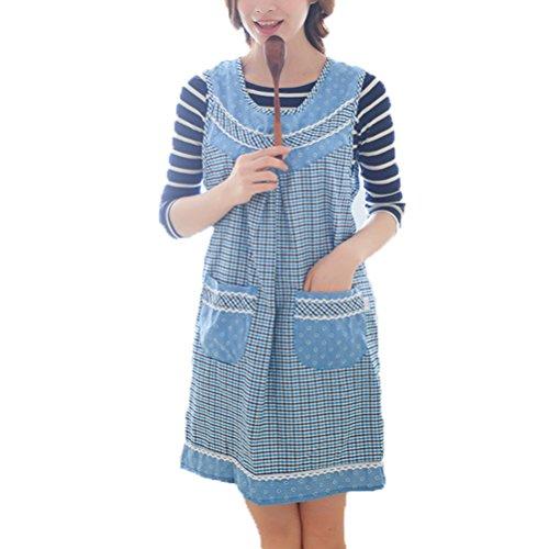 (Nanxson adult bibs apron plaid design with pockets AL8048 sky)
