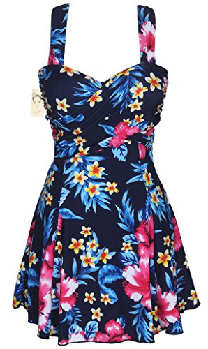 HENGJIA Women's Elegant Crossover One Piece Swimdress Skirted Bottom Swimsuit (FBA) Sakura Floral Print - Womens Best Suit Tri