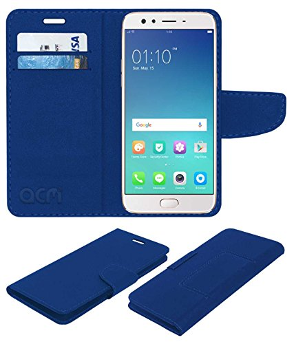 Acm Mobile Leather Flip Cover Flap Wallet Case Compatible with Oppo F3 Plus Mobile Cover Blue