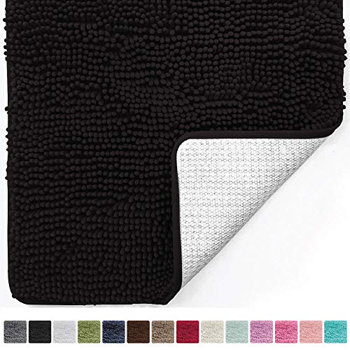Gorilla Grip Original Luxury Chenille Bathroom Rug Mat (30 x 20), Extra Soft Absorbent Shaggy Rugs, Machine Wash/Dry, Perfect Plush Carpet Mats Tub, Shower Bath Room (Black)
