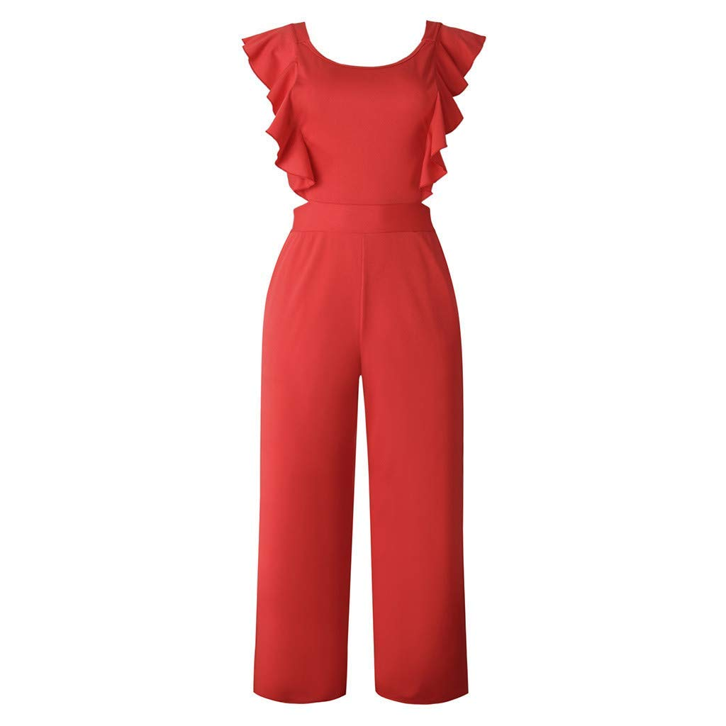Ladies Fashion Elegant Jumpsuit Women Jumpsuits Elegant with Ruffles,Casual Solid Color Sleeveless Party Romper Dress Red L