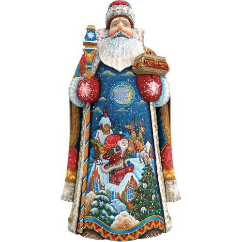 G. Debrekht Carved Wood and Hand-Painted Special Delivery Santa, - Special Santa Delivery Figurine