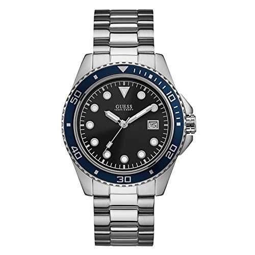 GUESS Men's Silver-Tone and Blue Sport Watch