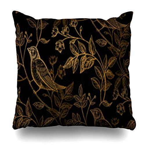 - AileenREE Throw Pillow Covers Flowers Luxury Vintage Branches Leaves Birds Floret Gold Foil On Nature Antique Pillowcase Square Size 16 x 16 Inches Home Decor Cushion Cases