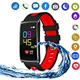 Hangang N68 Colorful Smart Bracelet IP67 Waterproof Smartwatch Support Bluetooth 4.0, Heart Rate Monitor, Blood Pressure Detection,Steps,Calories,Sleep Monitor, for Android4.4 and IOS 8.0 (red)