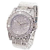 ARMRA Luxury Bling Watch Fashion for Women Men Jewelry Crystal Diamond Rhinestone Watches Steel Band Round Dial Analog Clock Classic Quartz Female Charm Bracelet Dress Wristwatches (Silver)