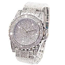 Crystal Diamond Rhinestone Watch With Steel Band