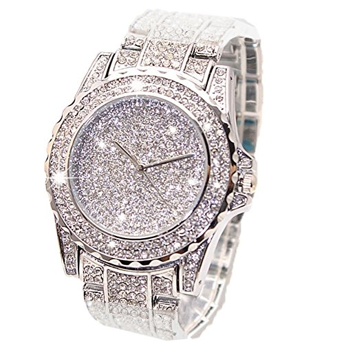 ARMRA Luxury Bling Watch Fashion for Women Men Jewelry Crystal Diamond Rhinestone Watches Steel Band Round Dial Analog Clock Classic Quartz Female Charm Bracelet Dress Wristwatches (Silver) from ARMRA