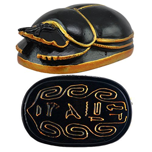Ebros Egyptian Amulet Black and Gold Scarab With Hieroglyphs Statue 3