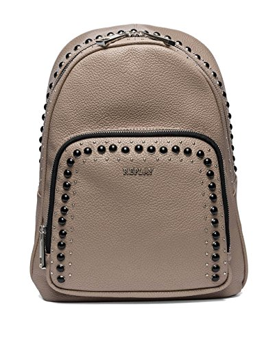 Replay Women's Women's Faux Leather Beige-Pink Studded Backpack Beige by Replay