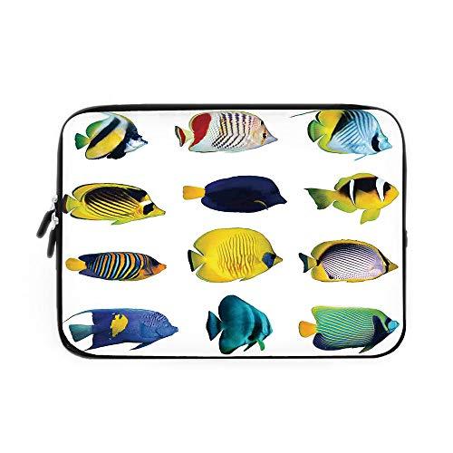 Ocean Animal Decor Laptop Sleeve Bag,Neoprene Sleeve Case/Tropical Fish Figures with Zebrasoma Anemonefish Dive Nemo Aqua Home Decor/for Apple MacBook Air Samsung Google Acer HP DELL Lenovo A - Hybrid Diva