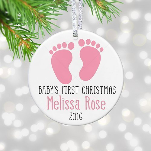 Personalized Babys 1st Christmas Baby Shower Gift for Mom, Custom Baby Name Sign, Personalized Boy Girl Footprints Gift Idea - 3