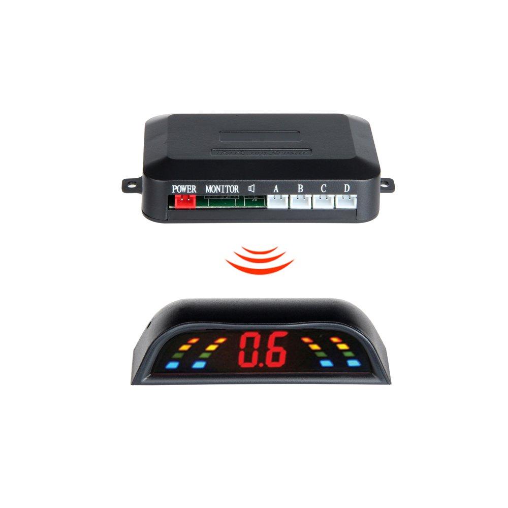É cran LED GISION 4 capteurs Systè me de stationnement de voiture Dé tecteur de voiture Inverser le radar de secours Capteurs Parktronic Sans fil, 6 couleurs. (Color : Gray)